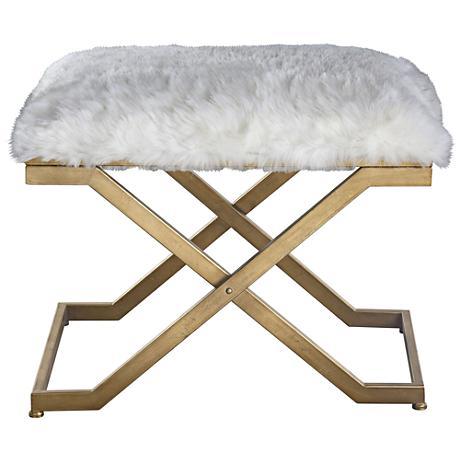 Uttermost Farran White Faux Fur Small Industrial Bench