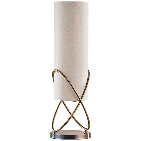 Nova Internal Weathered Brass Cylinder Table Lamp