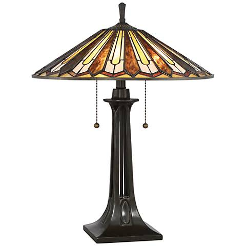 Quoizel Lance Tiffany Style Art Glass Bronze Table Lamp