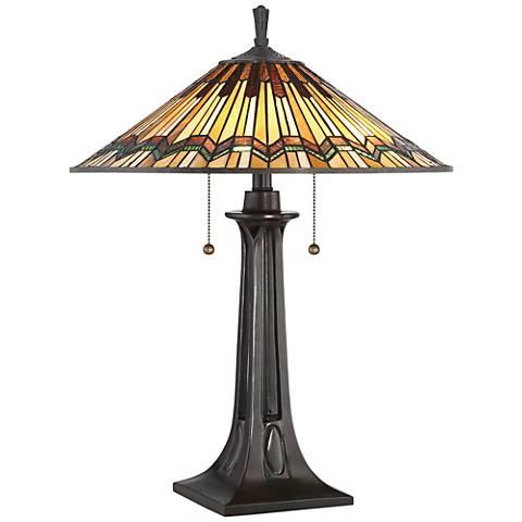 Quoizel Alcott Mission Valiant Bronze 2-Light Table Lamp