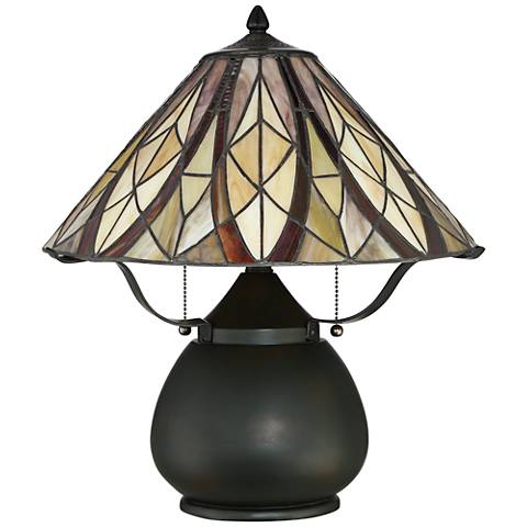 "Quoizel Victory 19"" High Tiffany-Style 2-Light Desk Lamp"