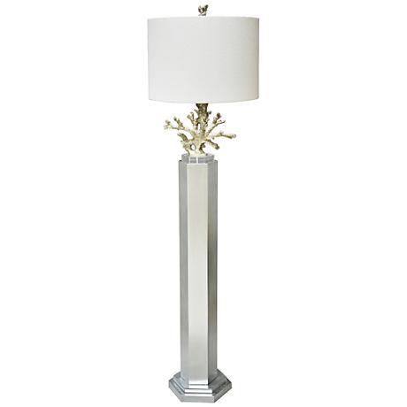 Couture Coral Silver Leaf Floor Lamp