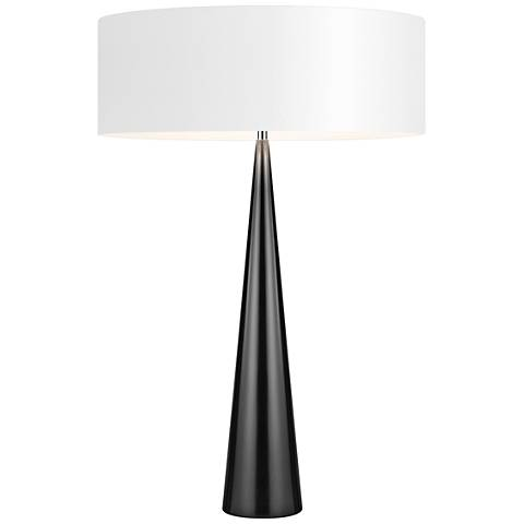 Big Table Cone Glossy Black Table Lamp with Paper Shade