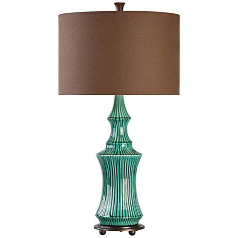 Uttermost Timavo Teal Ceramic Table Lamp