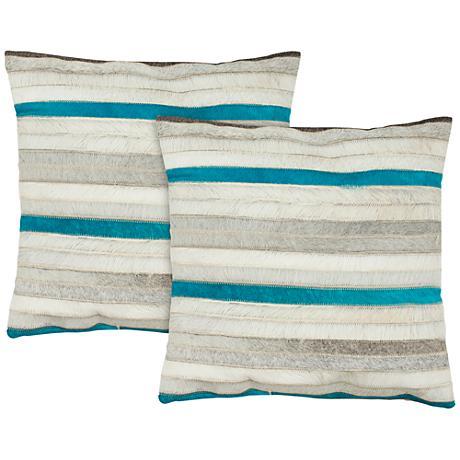 "Safavieh Quinn 18"" Square Striped Accent Pillow Set of 2"