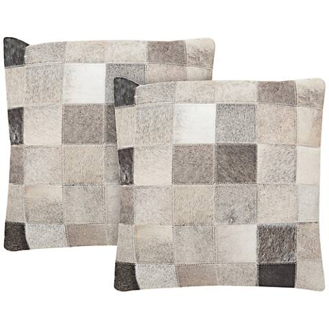 "Safavieh Taurean 18"" Gray Square Pillow Set of 2"