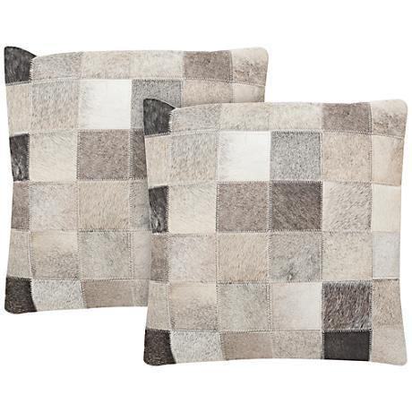 "Safavieh Taurean 22"" Gray Square Pillow Set of 2"