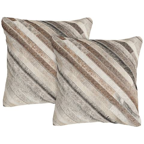"Safavieh Cherilyn 22"" Gray Square Accent Pillow Set of 2"