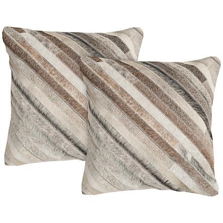 "Safavieh Cherilyn 22"" Gray Square Accent Pillow Set of 2"