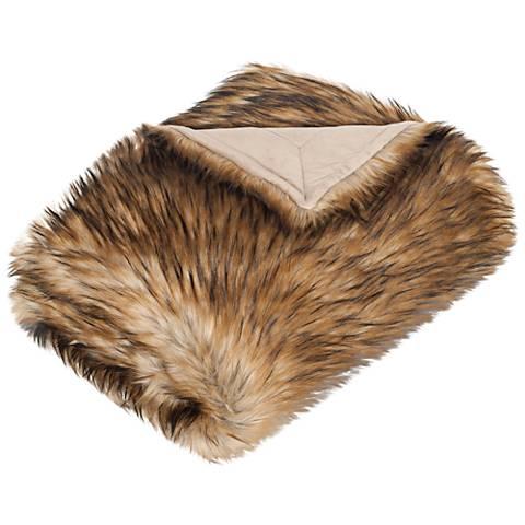 Safavieh Warm Brown Faux Raccoon Throw Blanket