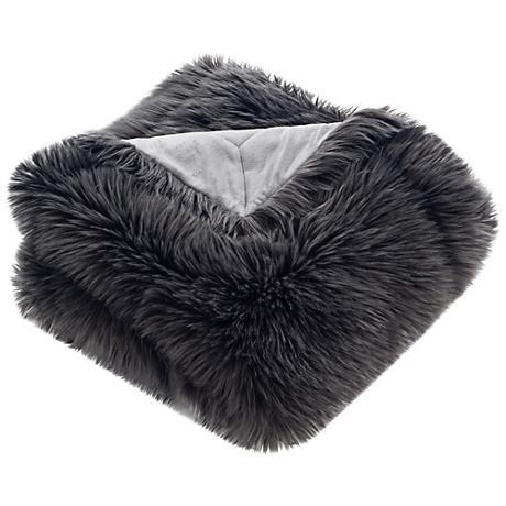 Safavieh Dark Gray Faux Gray Shadow Fox Throw Blanket
