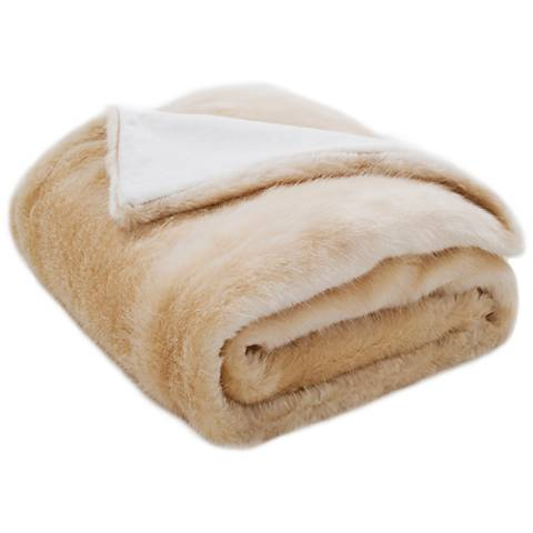 Safavieh Creamy Pearl Faux Glistened Mink Throw Blanket