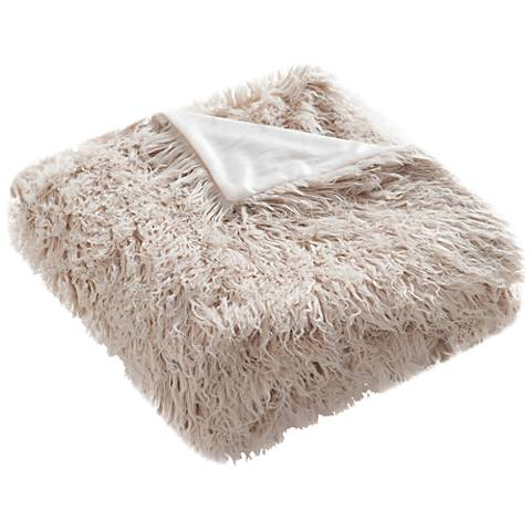 Safavieh Taupe Faux Sheepskin Throw Blanket