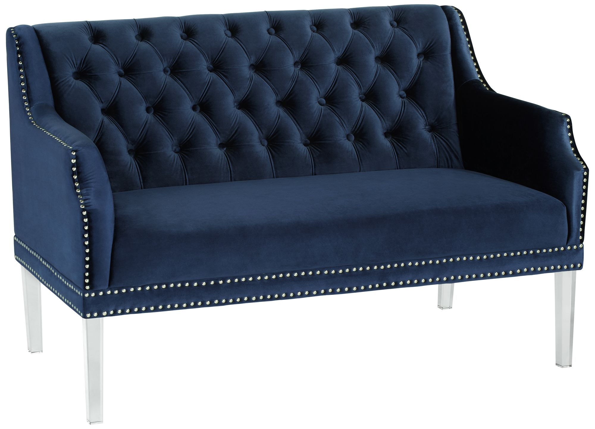 Rosie Button Tufted Blue Velvet Settee With Acrylic Legs
