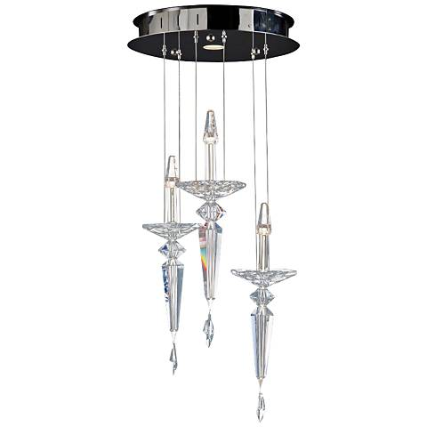 "Metro 16"" Wide Crystal Candelabra LED Multi Light Pendant"