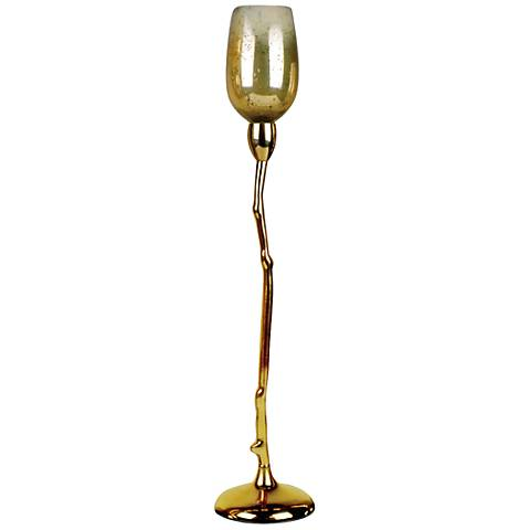 """Costa Brava 21 1/4""""H Golden Glass Tealight Candle Holder"""