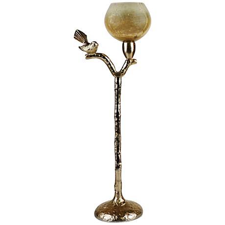 """Costa Brava Bird 24 1/2"""" High Golden Tealight Candle Holder"""