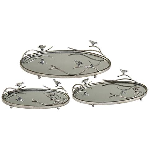 Uttermost Bird-On-Limb 3-Piece Silver-Champagne Tray Set