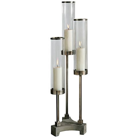 Uttermost Risto 3-Cylinder Brushed Aluminum Candle Holder