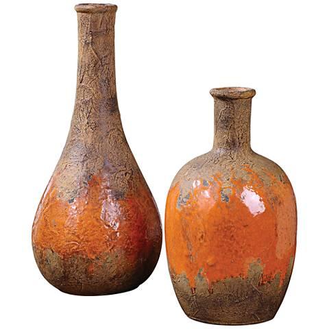 Uttermost Kadam Rust 2-Piece Orange Ceramic Vase Set