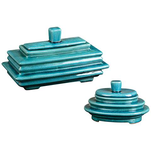 Uttermost Indra 2-Piece Crackle Blue Glaze Lidded Box Set