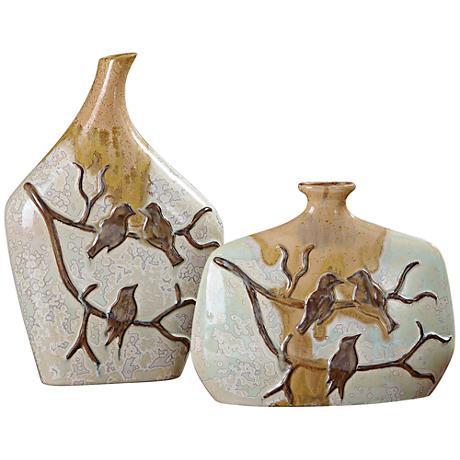 Uttermost Pajaro Metallic Ivory 2-Piece Ceramic Vase Set