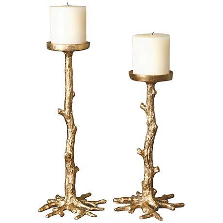 Uttermost Faux Branch 2-Piece Gold Leaf Candle Holder Set