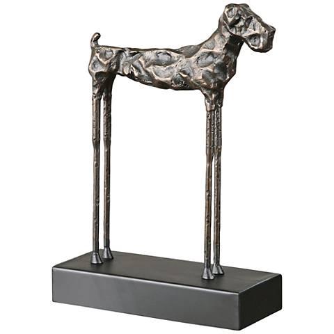 """Uttermost Maximus Cast Iron 13 1/4""""H Golden Terrier Statue"""