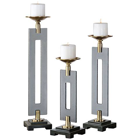 Uttermost Everly 3-Piece Smoked Glass Candle Holder Set