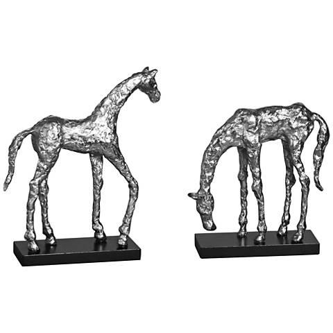 Uttermost Let's Graze 2-Piece Aluminum Pony Statue Set