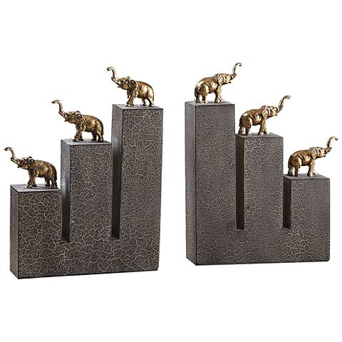 Uttermost Antique Gold Elephant Crackle Bookends