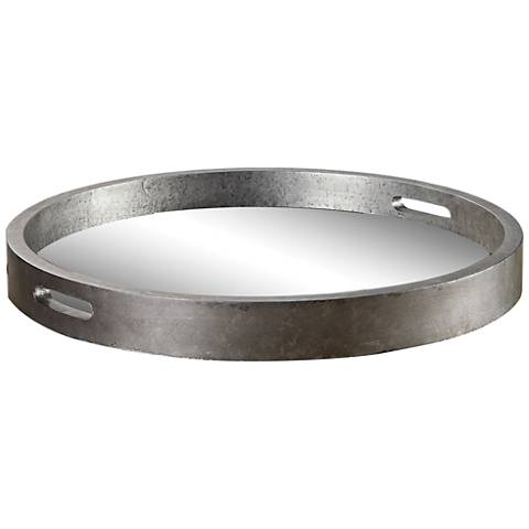 Uttermost Bechet Mirrored Antique Silver Tambourine Tray