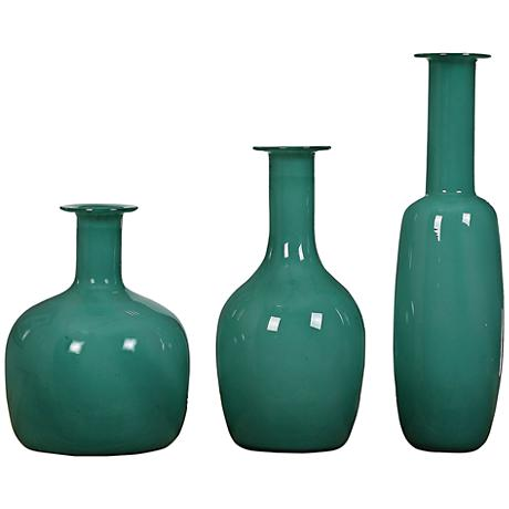 Uttermost Baram 3-Piece Persian Green Glass Vase Set