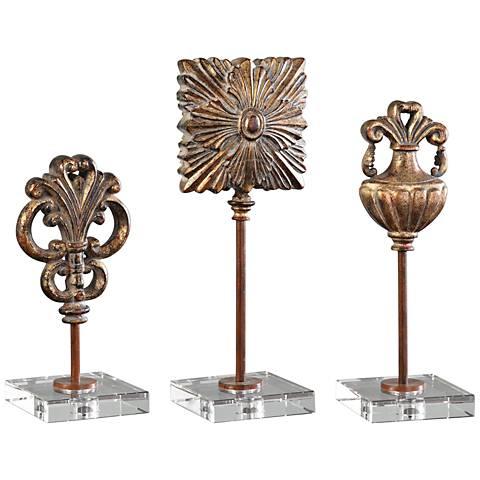 Uttermost Cesare Gold Leaf 3-Piece Ancient Sculpture Set