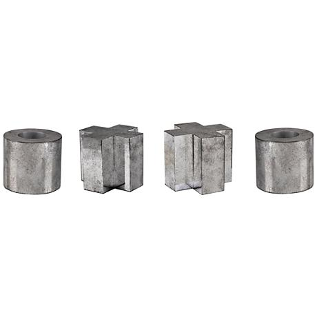 Uttermost Tic Tac Toe 4-Piece Tarnished Silver Accent Set