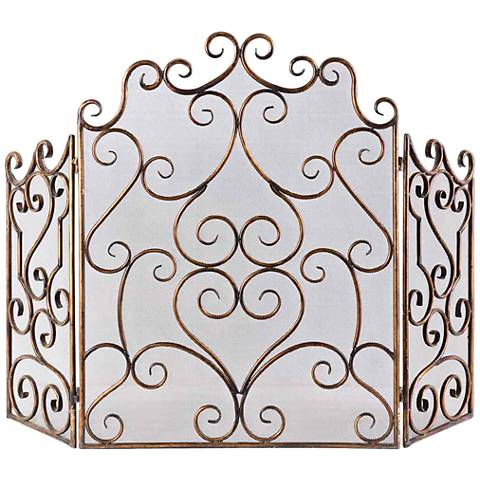 "Uttermost Kora 35 1/4""H Gold Leaf Maple Fireplace Screen"