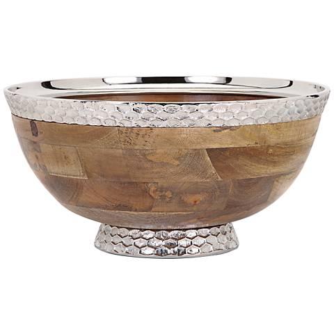 Mango Wood and Aluminum Round Pedestal Bowl