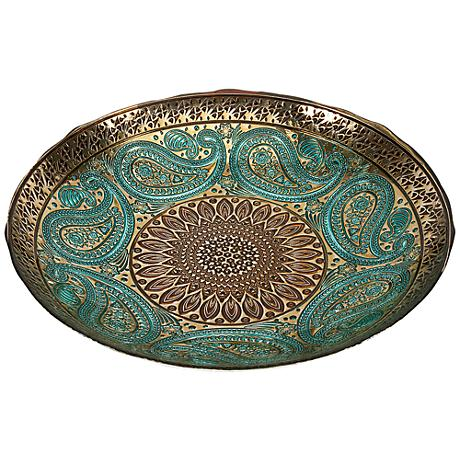 Paisley Peacock Blue and Gold Decorative Glass Bowl
