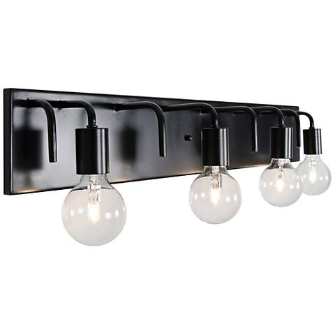 "Varaluz Socket-To-Me 31 1/4"" Wide Black Bath Light"