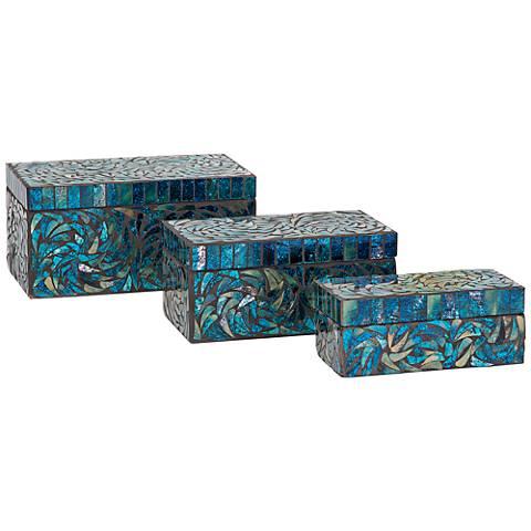 Peacock Mosaic 3-Piece Decorative Boxes Set