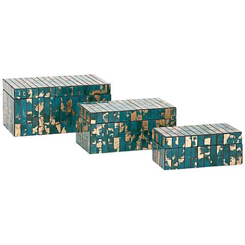 Glacier Mosaic 3-Piece Decorative Boxes Set