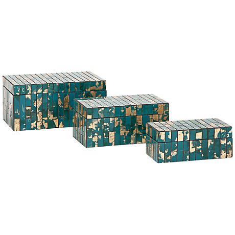 Glacier Mosaic 3-Piece Decorative Boxes Set