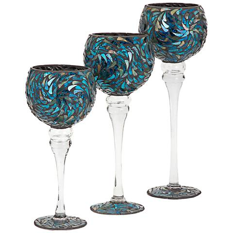 Peacock Mosaic Glass 3-Piece Votive Candle Holders Set