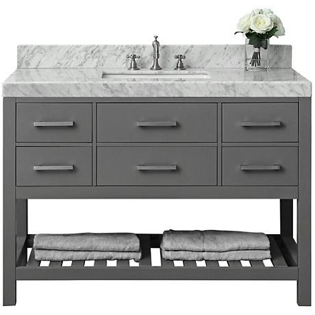 """Elizabeth Sapphire Gray 48"""" White Marble-Top Sink Vanity"""