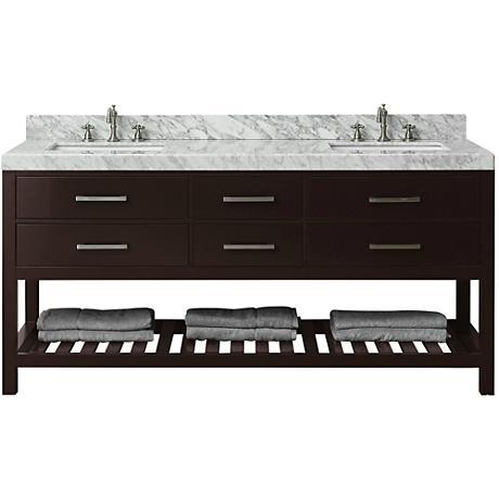 "Elizabeth Espresso 72"" Italian Marble Double Sink Vanity"
