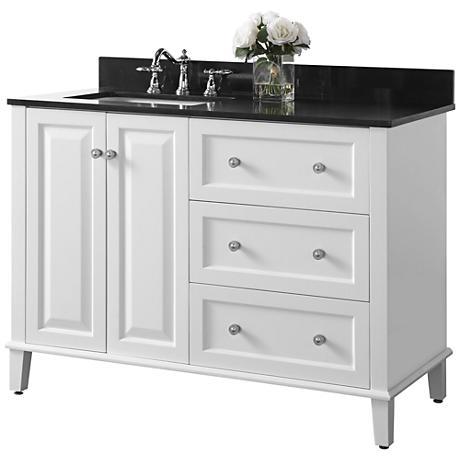 Hannah White 48 Granite Top Off Center Left Sink Vanity 1m910 Lamps Plus