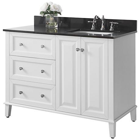 "Hannah White 48"" Granite-Top Off-Center Right Sink Vanity"