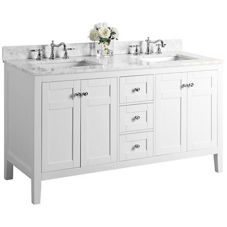 "Maili White 60"" Italian Marble Double Sink Vanity"