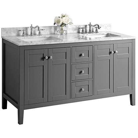 "Maili Sapphire Gray 60"" Italian Marble Double Sink Vanity"