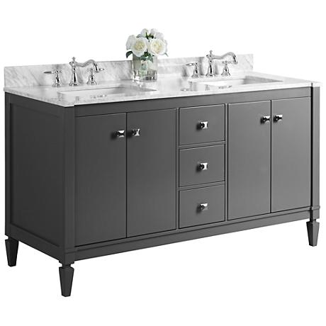 """Kayleigh Sapphire Gray 60"""" Marble-Top Double Sink Vanity"""
